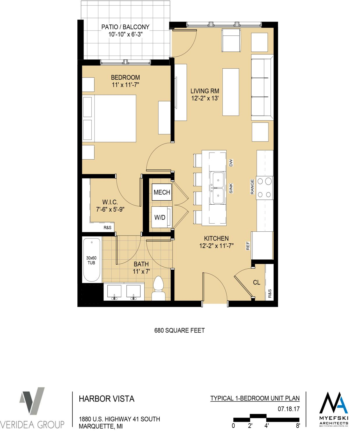 Standard 1 Bedroom Unit - 680 sq ft