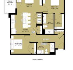 Standard 2 Bedroom - 1,001 sq ft