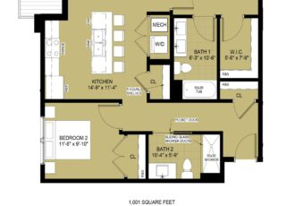Standard 2 Bedroom - 1,001 sq ft