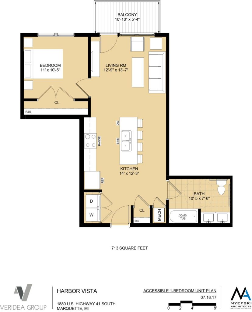 1 Bedroom Efficiency Apartment Plans: The Residences At Harbor Vista - High End