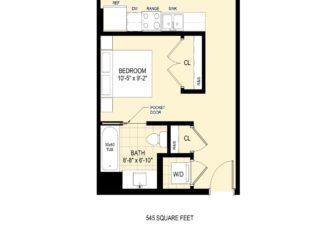 Studio Apartment - 545 sq ft